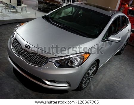 TORONTO-FEBRUARY 14: KIA Forte at the 2013 Canadian International Auto Show on February 14, 2013 in Toronto - stock photo