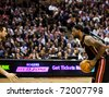 TORONTO - FEBRUARY 16: LeBron James (R) participates in an NBA basketball game at the Air Canada Centre on February 16, 2011 in Toronto, Canada.  The Miami Heat beat the Toronto Raptors 103-95. - stock photo