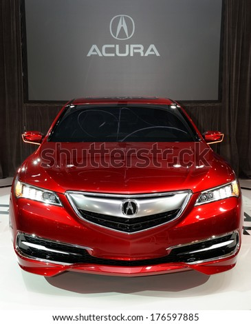 TORONTO-FEBRUARY 14: The all New 2015 Acura TLX mark the debut at the 2014 Canadian International Auto Show on February 14, 2014 in Toronto           - stock photo