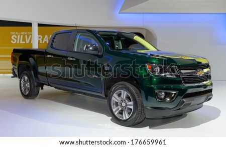 TORONTO-FEBRUARY 14: The all New 2015 Chevrolet Colorado at the 2014 Canadian International Auto Show on February 14, 2014 in Toronto           - stock photo