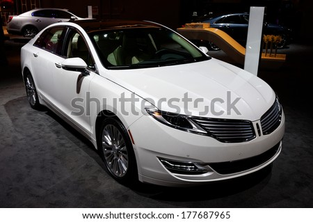 TORONTO-FEBRUARY 14: The all New 2015 Lincoln MKZ at the 2014 Canadian International Auto Show on February 14, 2014 in Toronto           - stock photo