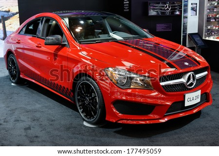 TORONTO-FEBRUARY 14: The all New 2015 Mercedes CLA 250 at the 2014 Canadian International Auto Show on February 14, 2014 in Toronto           - stock photo