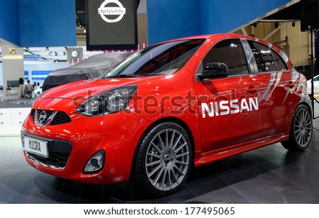 TORONTO-FEBRUARY 14: The all New 2015 Nissan Micra  at the 2014 Canadian International Auto Show on February 14, 2014 in Toronto           - stock photo