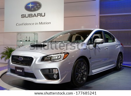 TORONTO-FEBRUARY 14: The all New 2015 Subaru WRX at the 2014 Canadian International Auto Show on February 14, 2014 in Toronto           - stock photo