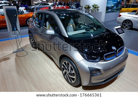 TORONTO-FEBRUARY 14: The futuristic BMW i3 redefines sustainable mobility at the 2014 Canadian International Auto Show on February 14, 2014 in Toronto           - stock photo