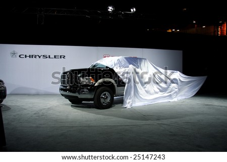 TORONTO, FEBRUARY 11: The new Dodge Ram Heavy Duty Chassis Cab pick-up truck is unveiled at the Canadian International AutoShow 2009 held in Toronto, Canada on Feb. 11, 2009. - stock photo