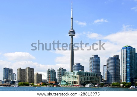 Toronto harbor skyline with CN Tower and skyscrapers