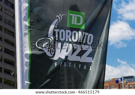 Toronto Jazz Festival banner in the Nathan Phillips Square. Toronto, Canada. 2016/06/27