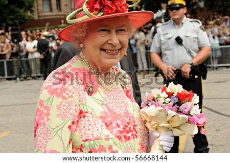 TORONTO-JULY 06: On her 22nd royal tour of Canada the Queen has been making stops in Toronto, Waterloo, Ont., Halifax, Ottawa and Winnipeg. Toronto, July 06, 2010 - stock photo