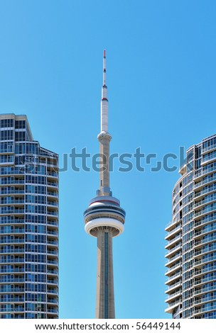 TORONTO - JULY 01: The most visited attraction in Toronto during Canada Day is CN tower. Toronto, July 01, 2010 - stock photo