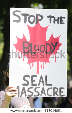 TORONTO-JUNE 25: An animal activist with a sign- protesting against the decision of the Canadian Government  to allow people to hunt seals during the G20 Protest on June 25, 2010 in Toronto, Canada. - stock photo