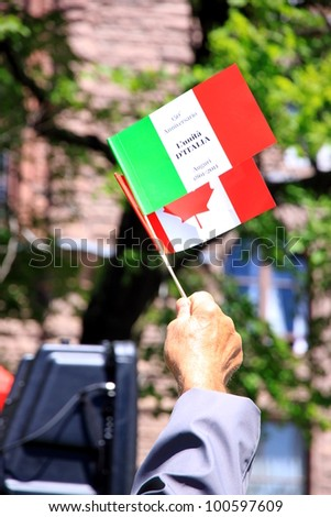 TORONTO - JUNE 2: Celebrations for Italy's 150th anniversary on June 2, 2011 in Toronto. According to the 2006 census of Canada, 1,445,335 Canadians consider themselves to be of Italian origin. - stock photo