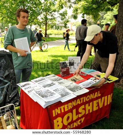 TORONTO-JUNE 25: The international Bolshevik book stand at G0 Protest on June 25, 2010 in Toronto, Canada.