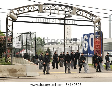 TORONTO-JUNE 27: Toronto Film Studios are used as detention centre for more then 500 protesters arrested by police at G20 protests on June 27, 2010 in Toronto. - stock photo