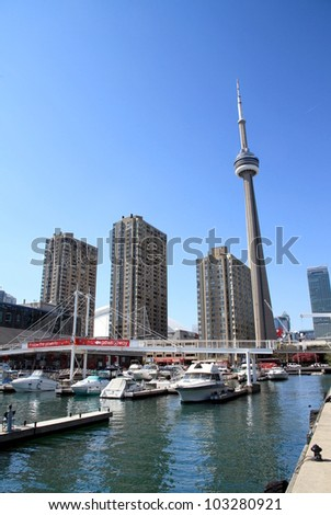 TORONTO - MAY 11: A view of the CN Tower on May 11, 2012 in Toronto. The CN Tower is a communications and observation tower in Downtown Toronto, Ontario, Canada. - stock photo
