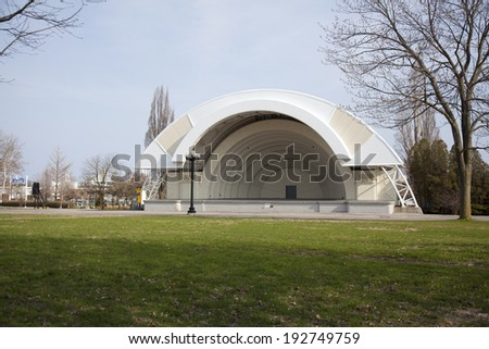 TORONTO - MAY 8, 2014 : The Bandshell amphitheater on May 8, 2014  in Toronto. Inspired by the Hollywood Bowl, the Art Deco-styled Bandshell on the CNE grounds was built in 1936. - stock photo