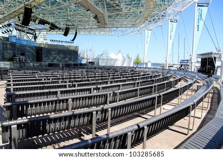 TORONTO - MAY 11: The Harbourfront Centre amphitheater on May 11, 2012 in Toronto. Harbourfront Centre works with 450 organizations and hosts more than 4,000 events a year. - stock photo
