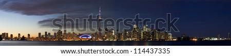 Toronto night cityscape wide horizontal panorama - stock photo