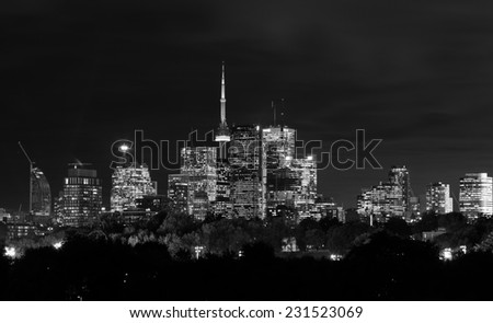 Toronto Night Skyline in Black and White with copy space - stock photo
