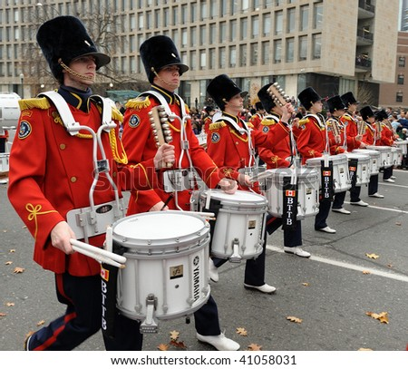 TORONTO-NOVEMBER 15: Many marching bands traditionally participate at the Toronto Santa Claus Parade on November 15, 2009 in Toronto, Canada. - stock photo