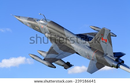 TORONTO-OCTOBER 10,2014:Canadair CF-5 (CF-116 Freedom Fighter) displayed at Defence Research and Development Canada in Toronto as licensed-built version of the Northrop F-5 - stock photo