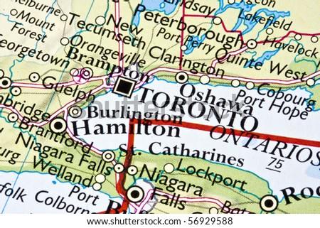 Toronto on a map - stock photo