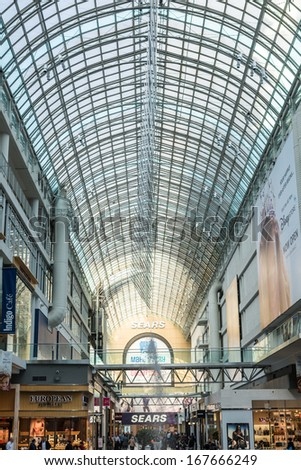 TORONTO, ON, CANADA - OCTOBER 30: Very busy corridor in Eaton Center mall, the largest mall in downtown Toronto, in Toronto Canada on October 30, 2013
