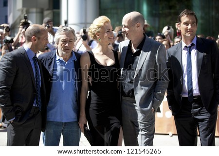 "TORONTO, ON/CANADA - SEPTEMBER 10, 2011:  Actors Jason Statham and Robert De Niro at the gala for ""Killer Elite"" during the International Film Festival on Saturday, September, 10, 2011 in Toronto"