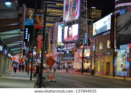 TORONTO,ON-JUNE 07:Yonge-Dunda Square at Night on June 07, 2010 in Toronto, Canada. Yonge- Dunda Square is a commercial, and public square, hosts many events,and it is one of Toronto's main attraction - stock photo