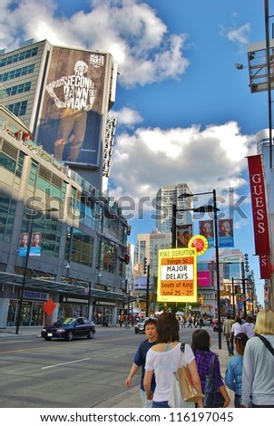 TORONTO,ON - JUNE 07: Yonge-Dunda Square on June 07, 2010 in Toronto, Canada. Yonge- Dunda Square is a commercial, and public square, hosts many events,and it is one of Toronto's main attraction. - stock photo