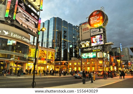 TORONTO,ON - SEPTEMBER 25: Yonge-Dundas Square on September 25, 2010 in Toronto, Canada. Yonge- Dunda Square is a commercial, and public square, hosts many events,and one of Toronto's main attraction. - stock photo