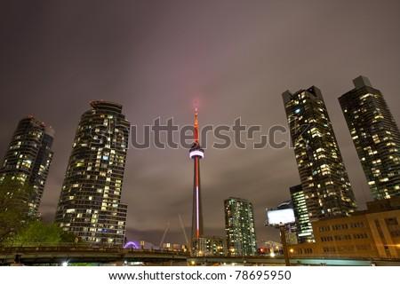 Toronto, Ontario, Canada - at night - stock photo