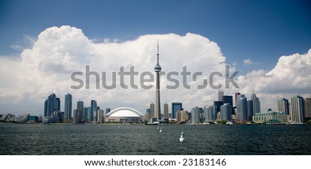 Toronto, Ontario, Canada daytime skyline with clouds in the background. - stock photo