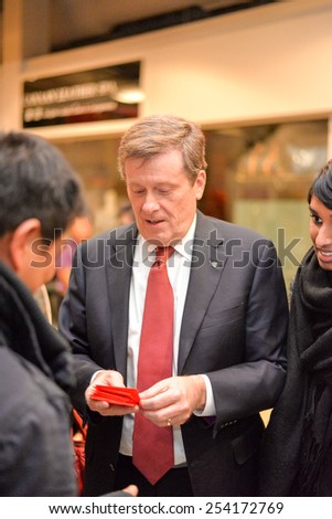 TORONTO, ONTARIO/CANADA - 18th Wednesday February 2015 : Toronto mayor John Tory attends Chinese New Year events in Splendid China Mall, Toronto, Canada.