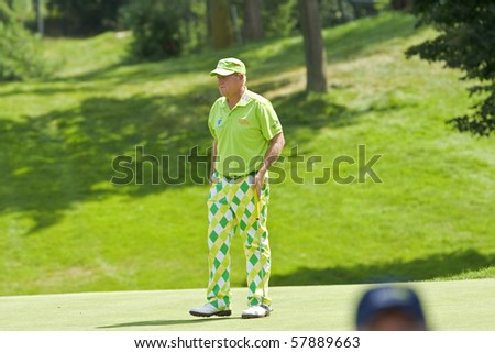 TORONTO, ONTARIO - JULY 21: US golfer John Daly  during a pro-am event at the RBC Canadian Open golf  St. George's; Golf and Country Club; July 21, 2010 in Toronto, Ontario. - stock photo
