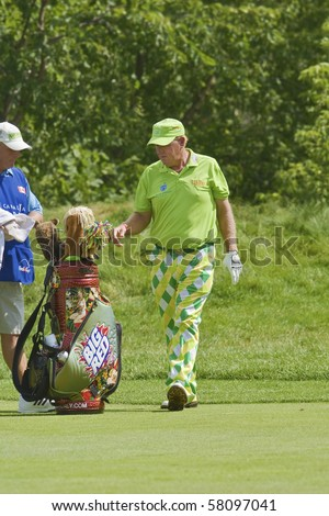 TORONTO, ONTARIO - JULY 21: US golfer John Daly  during a pro-am event at the RBC Canadian Open golf, St. George's, Golf and Country Club July 21, 2010 Toronto, Ontario. - stock photo