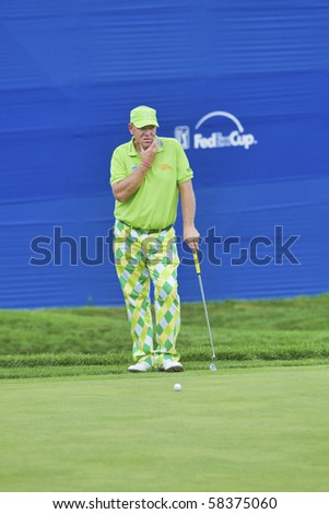 TORONTO, ONTARIO - JULY 21: US golfer John Daly during a pro-am event at the RBC Canadian Open golf, St. George's; Golf and Country Club; Toronto, Ontario, July 21, 2010 - stock photo