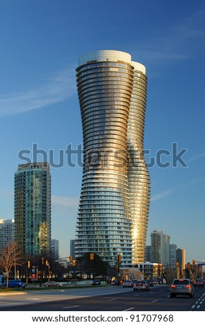 TORONTO, ONTARIO - MARCH 28:  Winner of design competition for Absolute World condominiums in Mississauga announced in Toronto on March 28, 2007.  Winning design is from M.A.D. architects of Beijing - stock photo