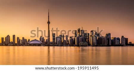 Toronto panorama at sunset viewed from Harbor Island Park - stock photo