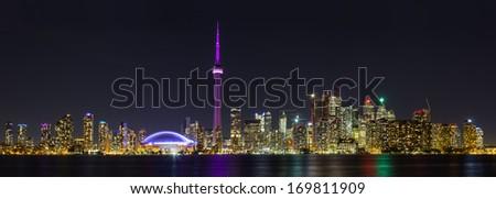 Toronto Panoramic at Night - stock photo