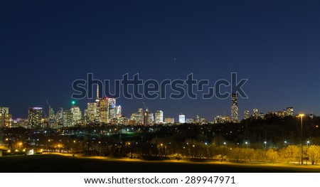 Toronto Panoramic with a clear blue sky and copy space - stock photo