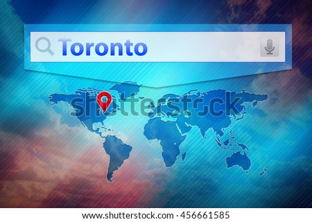 Toronto search result, location Toronto city on the global map. Text Toronto in the search bar, red point marker marked the Toronto place on the world map. Blue background, world map, white search bar - stock photo