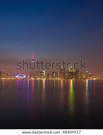 Toronto Skyline After Sunset (Ontario, Canada) - stock photo