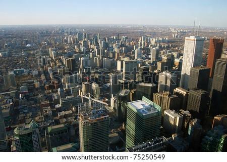 Toronto Skyline and Skyscrapers, view from CN tower, Toronto, Ontario, Canada - stock photo