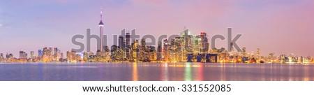 Toronto Skyline at dusk, Ontario, Canada Panorama - stock photo