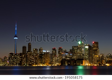 Toronto Skyline at Dusk with copy space on the right - stock photo