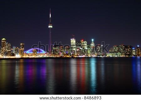 Toronto skyline at night. - stock photo