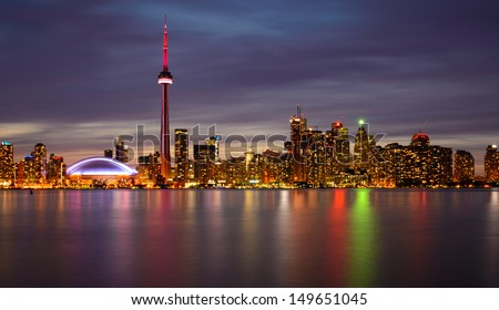 Toronto Skyline at Night and Reflection - stock photo