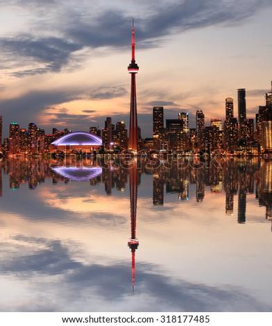 Toronto Skyline at sunset, Ontario, Canada - stock photo