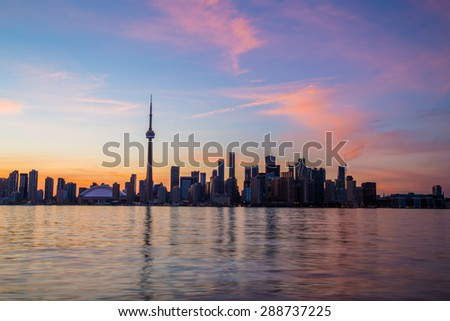Toronto Skyline Colorful Sunset with copyspace above or below the buildings. - stock photo